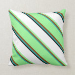 [ Thumbnail: Light Sea Green, Brown, Green, White & Black Throw Pillow ]