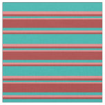 [ Thumbnail: Light Sea Green, Brown & Light Coral Pattern Fabric ]