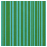 [ Thumbnail: Light Sea Green & Dark Green Colored Stripes Fabric ]