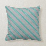 [ Thumbnail: Light Sea Green & Dark Grey Colored Pattern Pillow ]