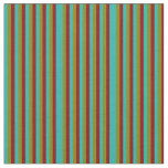 [ Thumbnail: Light Sea Green, Dark Red & Green Lines Pattern Fabric ]