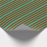 [ Thumbnail: Light Sea Green, Dark Red & Green Lines Pattern Wrapping Paper ]