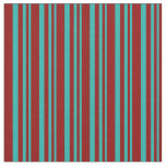 [ Thumbnail: Light Sea Green & Dark Red Stripes Fabric ]