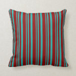 [ Thumbnail: Light Sea Green & Dark Red Stripes Throw Pillow ]