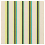 [ Thumbnail: Light Sea Green, Green, Black, Yellow & Tan Lines Fabric ]
