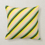 [ Thumbnail: Light Sea Green, Green, Black, Yellow & Tan Lines Throw Pillow ]