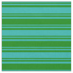 [ Thumbnail: Light Sea Green & Green Stripes Pattern Fabric ]