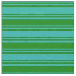 [ Thumbnail: Light Sea Green & Green Stripes Pattern Fabric ]