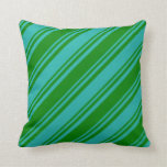 [ Thumbnail: Light Sea Green & Green Stripes Pattern Pillow ]