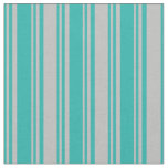 [ Thumbnail: Light Sea Green & Grey Pattern Fabric ]