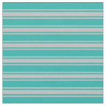 [ Thumbnail: Light Sea Green & Grey Striped Pattern Fabric ]