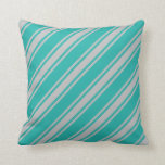 [ Thumbnail: Light Sea Green & Grey Striped Pattern Pillow ]