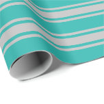 [ Thumbnail: Light Sea Green & Grey Striped Pattern Wrapping Paper ]