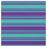 [ Thumbnail: Light Sea Green & Indigo Colored Lines Fabric ]