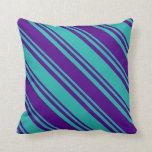 [ Thumbnail: Light Sea Green & Indigo Colored Lines Pillow ]