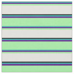 [ Thumbnail: Light Sea Green, Indigo, Green, Light Cyan & Black Fabric ]