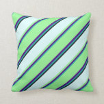 [ Thumbnail: Light Sea Green, Indigo, Green, Light Cyan & Black Throw Pillow ]