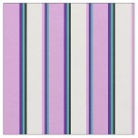 [ Thumbnail: Light Sea Green, Indigo, Plum, White, and Black Fabric ]