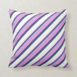 [ Thumbnail: Light Sea Green, Indigo, Plum, White, and Black Throw Pillow ]