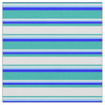 [ Thumbnail: Light Sea Green, Lavender, Light Sky Blue & Blue Fabric ]