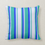 [ Thumbnail: Light Sea Green, Lavender, Light Sky Blue & Blue Throw Pillow ]