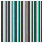 [ Thumbnail: Light Sea Green, Light Cyan & Black Colored Lines Fabric ]