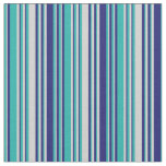 [ Thumbnail: Light Sea Green, Light Gray & Midnight Blue Lines Fabric ]