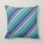 [ Thumbnail: Light Sea Green, Light Gray & Midnight Blue Lines Throw Pillow ]