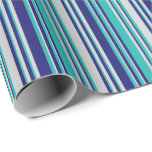 [ Thumbnail: Light Sea Green, Light Gray & Midnight Blue Lines Wrapping Paper ]