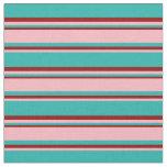 [ Thumbnail: Light Sea Green, Light Pink, and Dark Red Pattern Fabric ]