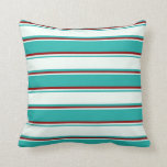 [ Thumbnail: Light Sea Green, Mint Cream & Dark Red Colored Throw Pillow ]