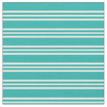 [ Thumbnail: Light Sea Green & Mint Cream Lines Pattern Fabric ]