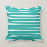 [ Thumbnail: Light Sea Green & Mint Cream Lines Pattern Pillow ]