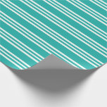 [ Thumbnail: Light Sea Green & Mint Cream Lines Pattern Wrapping Paper ]