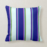 [ Thumbnail: Light Sea Green, Orchid, Blue, Light Cyan & Green Throw Pillow ]