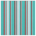 [ Thumbnail: Light Sea Green, Powder Blue & Maroon Lines Fabric ]