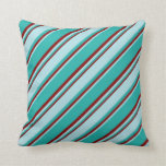 [ Thumbnail: Light Sea Green, Powder Blue & Maroon Lines Pillow ]