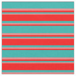 [ Thumbnail: Light Sea Green, Red & Light Coral Stripes Fabric ]