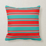 [ Thumbnail: Light Sea Green, Red & Light Coral Stripes Pillow ]