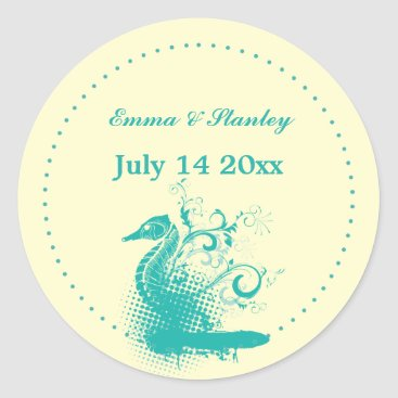 Beach Themed Light sea green seahorse wedding Save the Date Classic Round Sticker