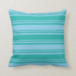 [ Thumbnail: Light Sea Green & Sky Blue Colored Stripes Pillow ]