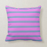 [ Thumbnail: Light Sea Green & Violet Colored Lined Pattern Throw Pillow ]