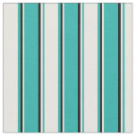 [ Thumbnail: Light Sea Green, White & Black Colored Pattern Fabric ]