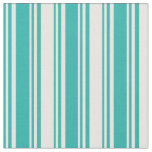 [ Thumbnail: Light Sea Green & White Colored Pattern Fabric ]