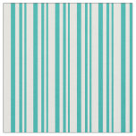 [ Thumbnail: Light Sea Green & White Striped/Lined Pattern Fabric ]