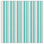[ Thumbnail: Light Sea Green & White Stripes Fabric ]