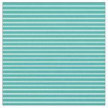 [ Thumbnail: Light Sea Green & White Stripes Pattern Fabric ]