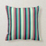[ Thumbnail: Light Sea Green, Yellow, Brown, Hot Pink & Black Throw Pillow ]