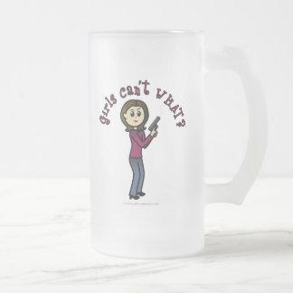 Light Sharpshooter Girl 16 Oz Frosted Glass Beer Mug