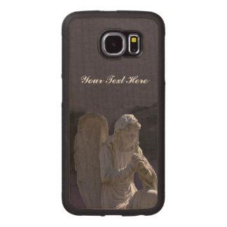 Light Shining down on Praying White Stone Angel Wood Phone Case